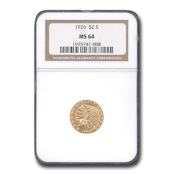 1926 $2.50 Indian Gold Quarter Eagle MS-64 NGC