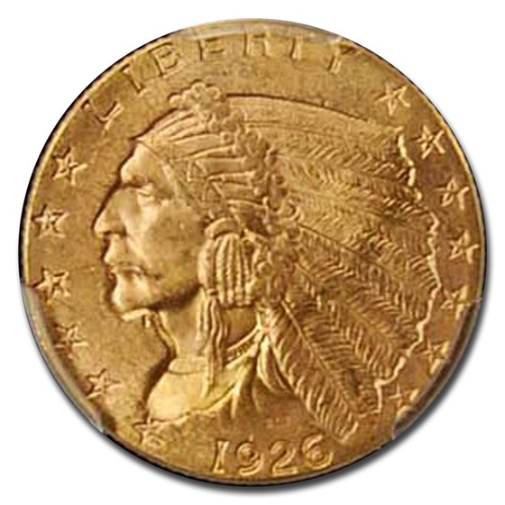1926 $2.50 Indian Gold Quarter Eagle MS-64+ PCGS CAC (Plus)