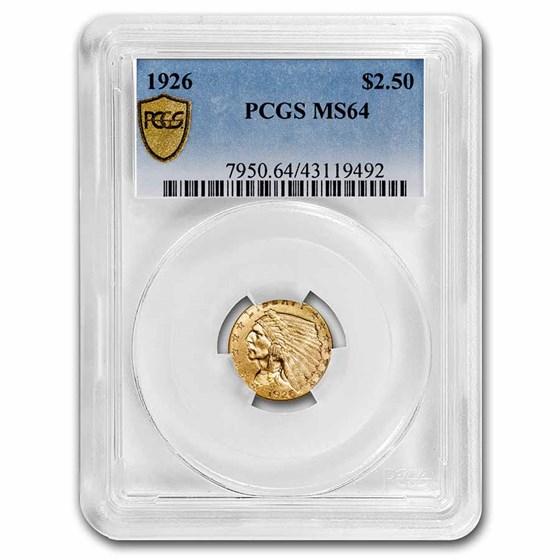 1926 $2.50 Indian Gold Quarter Eagle MS-64 PCGS