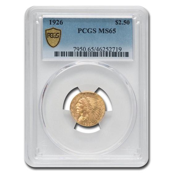 1926 $2.50 Indian Gold Quarter Eagle MS-65 PCGS