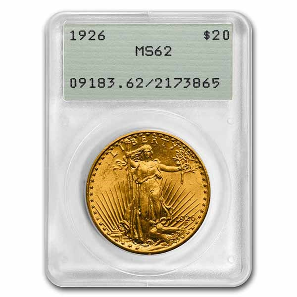 1926 $20 Saint-Gaudens Gold Double Eagle MS-62 PCGS (Rattler)