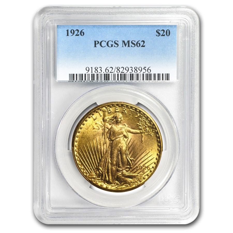 1926 $20 Saint-Gaudens Gold Double Eagle MS-62 PCGS