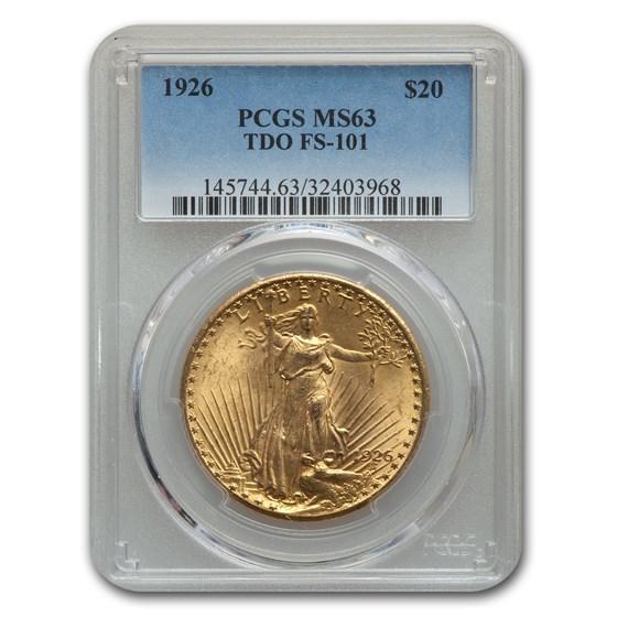 1926 $20 Saint-Gaudens Gold Double Eagle MS-63 (TDO, FS-101)