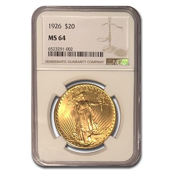 1926 $20 Saint-Gaudens Gold Double Eagle MS-64 NGC