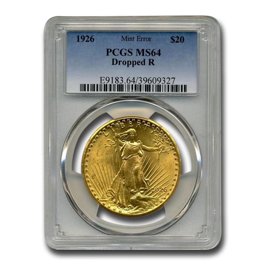 1926 $20 Saint-Gaudens Gold Double Eagle MS-64 PCGS (Dropped R)