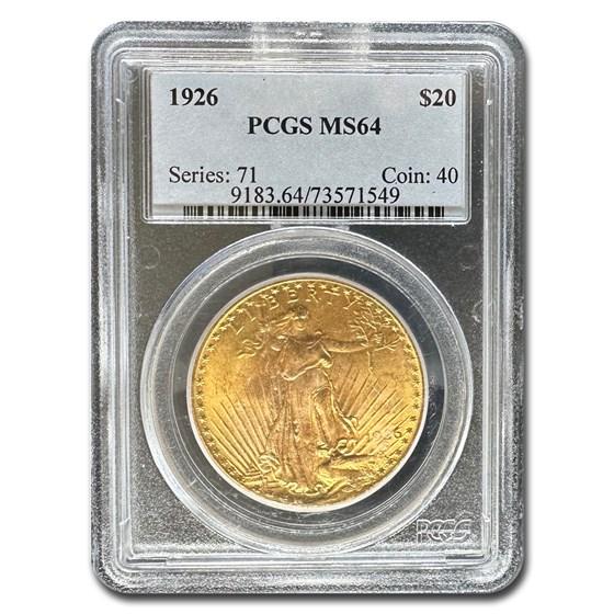 1926 $20 Saint-Gaudens Gold Double Eagle MS-64 PCGS