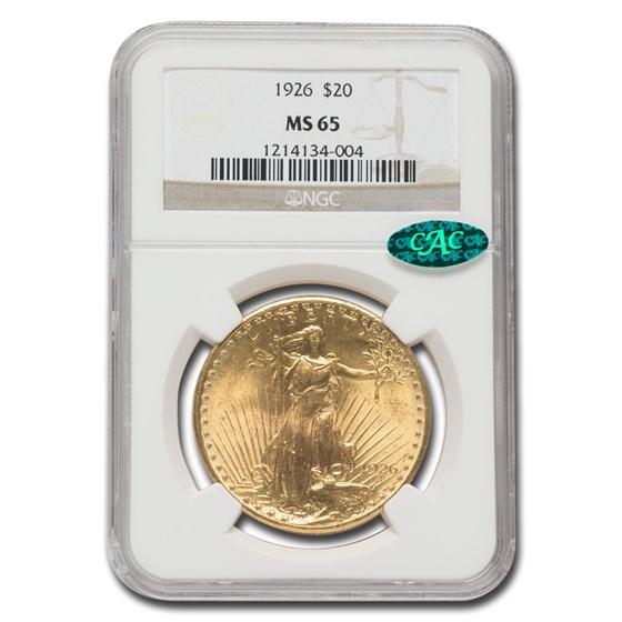 1926 $20 Saint-Gaudens Gold Double Eagle MS-65 NGC CAC