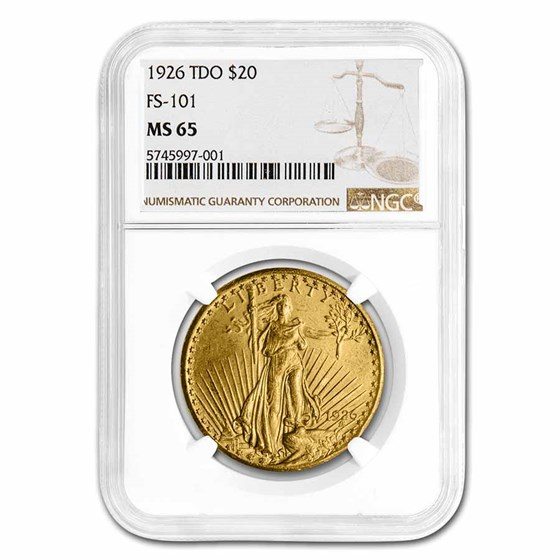 1926 $20 Saint-Gaudens Gold Double Eagle MS-65 NGC (TDO, FS-101)