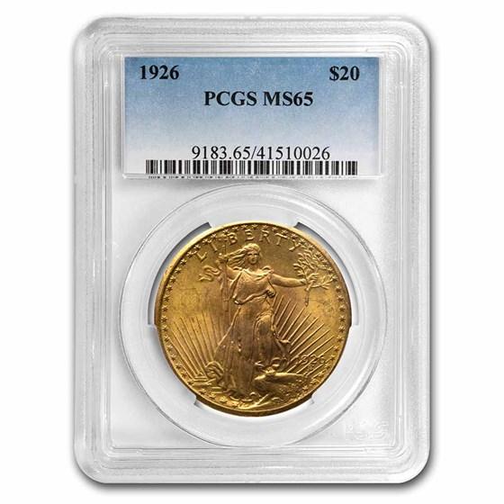1926 $20 Saint-Gaudens Gold Double Eagle MS-65 PCGS