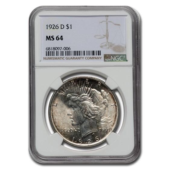 1926-D Peace Dollar MS-64 NGC