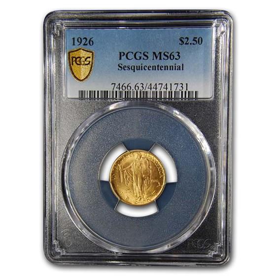1926 Gold $2.50 America Sesquicentennial MS-63 PCGS