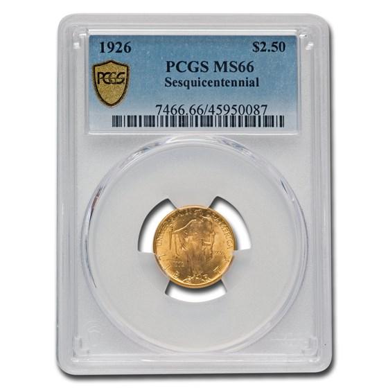 1926 Gold $2.50 America Sesquicentennial MS-66 PCGS