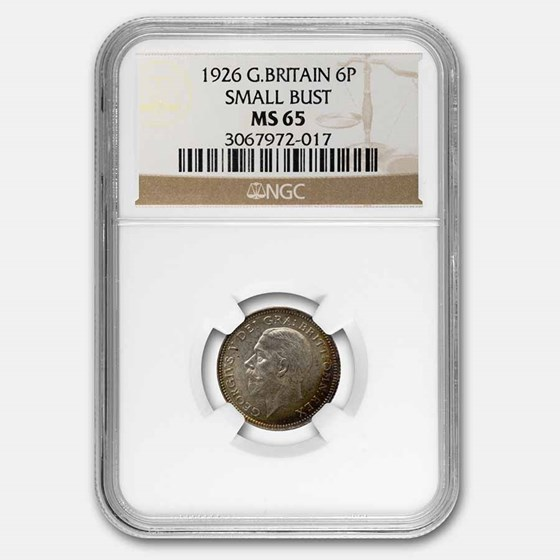 1926 Great Britain Silver 6 Pence George V MS-65 NGC
