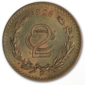 1926 Mexico 2 Centavos Bronze BU Brown KM#419
