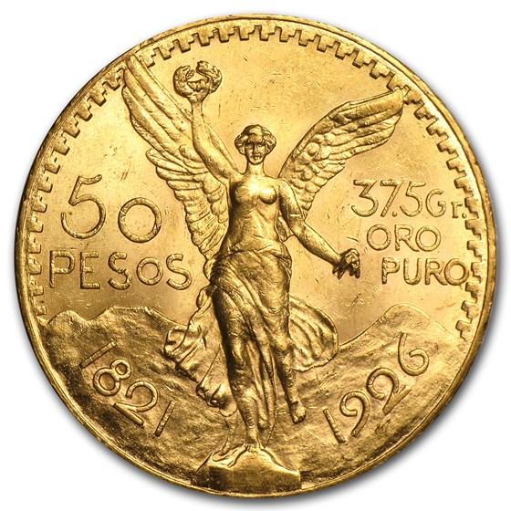 1926 Mexico Gold 50 Pesos BU