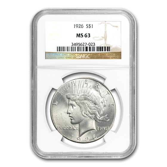 1926 Peace Dollar MS-63 NGC (VAM-2, Doubled Leaves, Top-50)