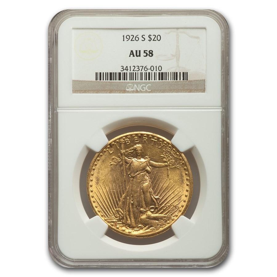 1926-S $20 Saint-Gaudens Gold Double Eagle AU-58 NGC