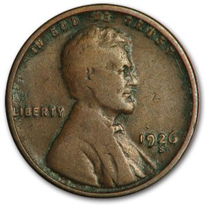 1926-S Lincoln Cent Good/VG