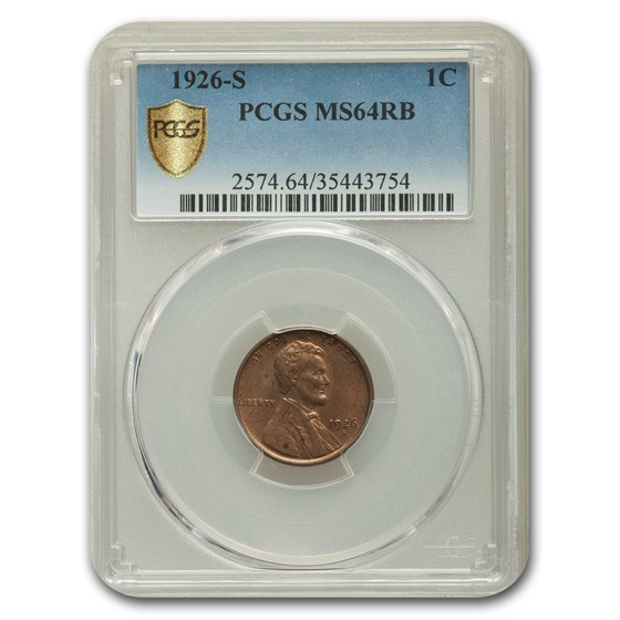1926-S Lincoln Cent MS-64 PCGS (Red/Brown)