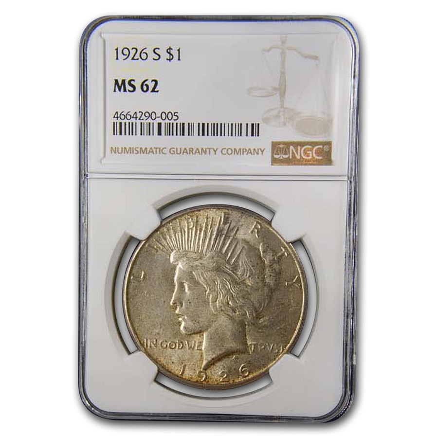 1926-S Peace Dollar MS-62 NGC