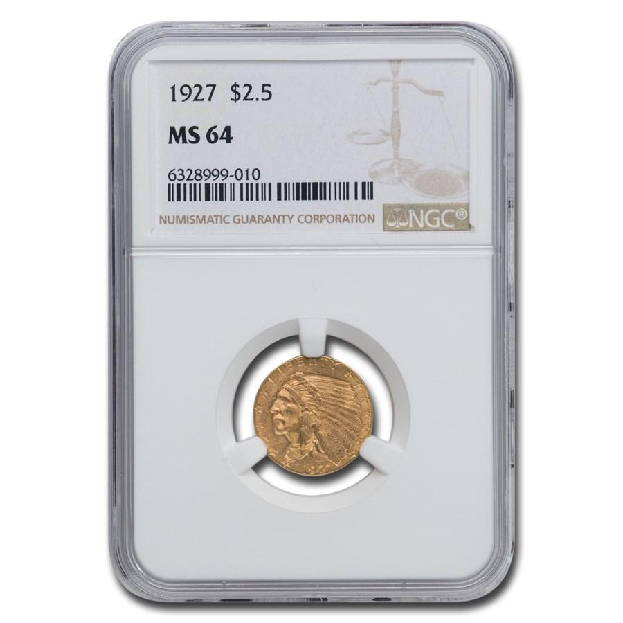 1927 $2.50 Indian Gold Quarter Eagle Mint State-64 NGC