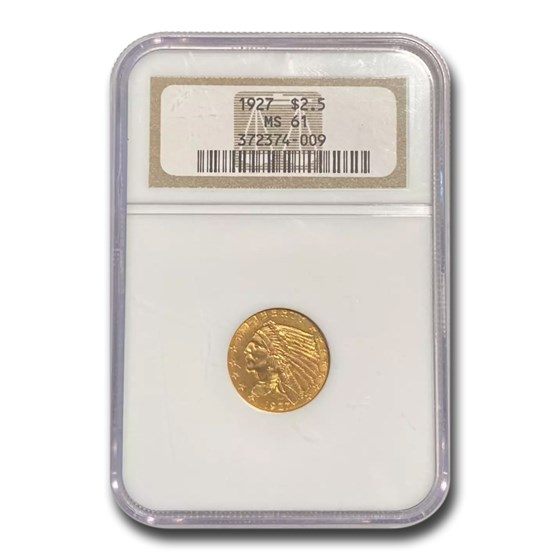 1927 $2.50 Indian Gold Quarter Eagle MS-61 NGC