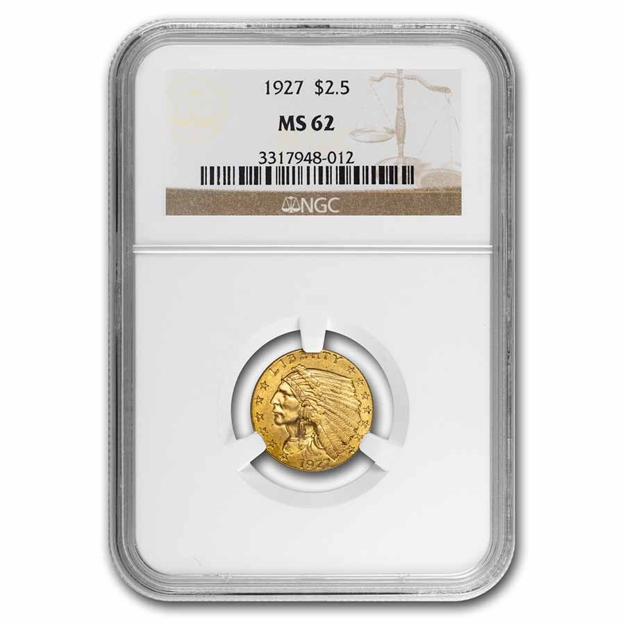 1927 $2.50 Indian Gold Quarter Eagle MS-62 NGC
