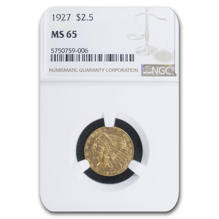 1927 $2.50 Indian Gold Quarter Eagle MS-65 NGC