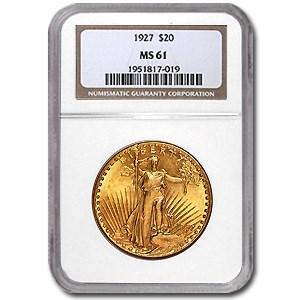 1927 $20 Saint-Gaudens Gold Double Eagle MS-61 NGC