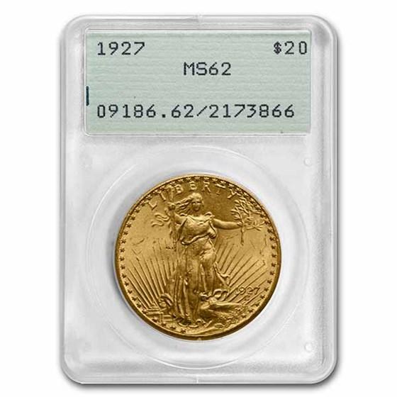 1927 $20 Saint-Gaudens Gold Double Eagle MS-62 PCGS (Rattler)