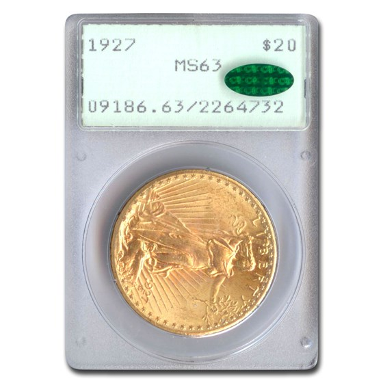 1927 $20 Saint-Gaudens Gold Double Eagle MS-63 PCGS CAC (Rattler)