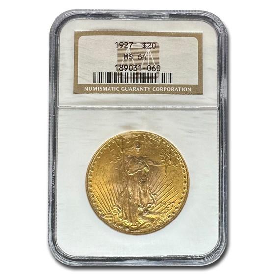 1927 $20 Saint-Gaudens Gold Double Eagle MS-64 NGC