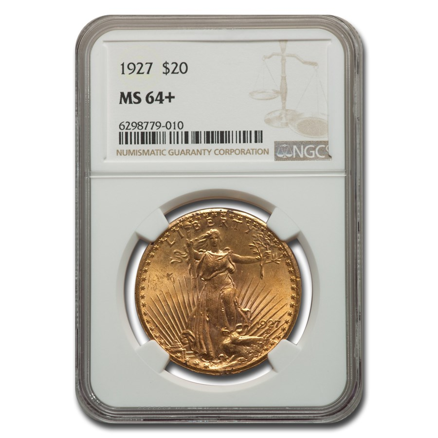 1927 $20 Saint-Gaudens Gold Double Eagle MS-64+ NGC
