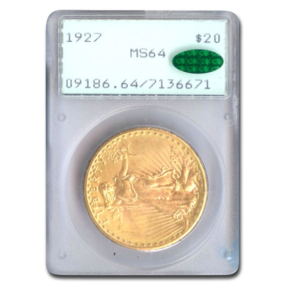 1927 $20 Saint-Gaudens Gold Double Eagle MS-64 PCGS CAC (Rattler)