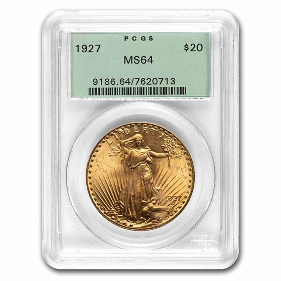 1927 $20 Saint-Gaudens Gold Double Eagle MS-64 PCGS (OGH)