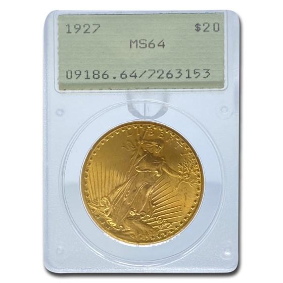 1927 $20 Saint-Gaudens Gold Double Eagle MS-64 PCGS (Rattler)