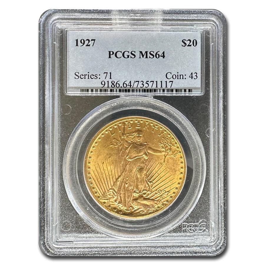 1927 $20 Saint-Gaudens Gold Double Eagle MS-64 PCGS