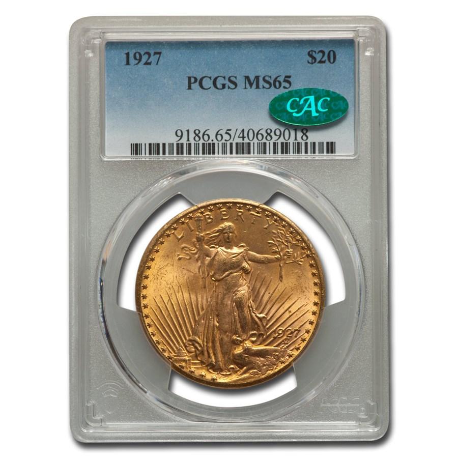 1927 $20 Saint-Gaudens Gold Double Eagle MS-65 PCGS CAC