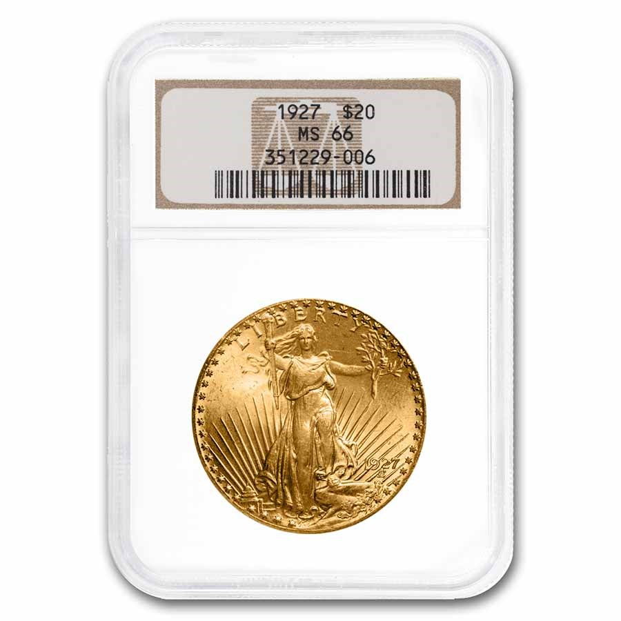 1927 $20 Saint-Gaudens Gold Double Eagle MS-66 NGC