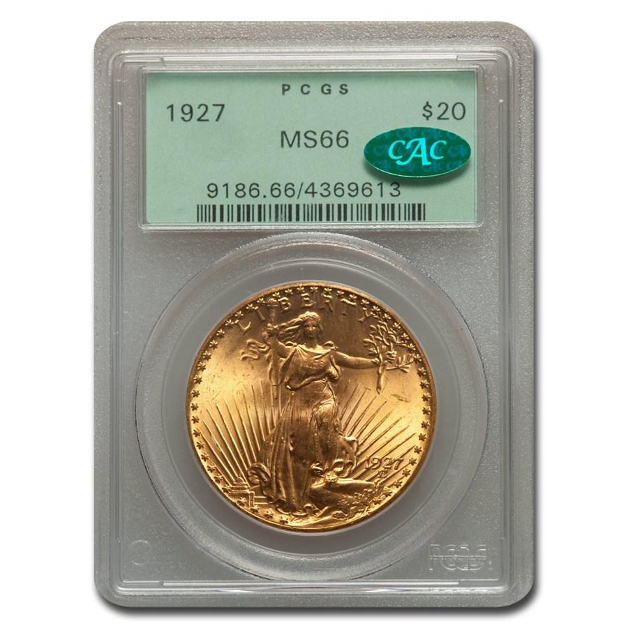 1927 $20 Saint-Gaudens Gold Double Eagle MS-66 PCGS (CAC)