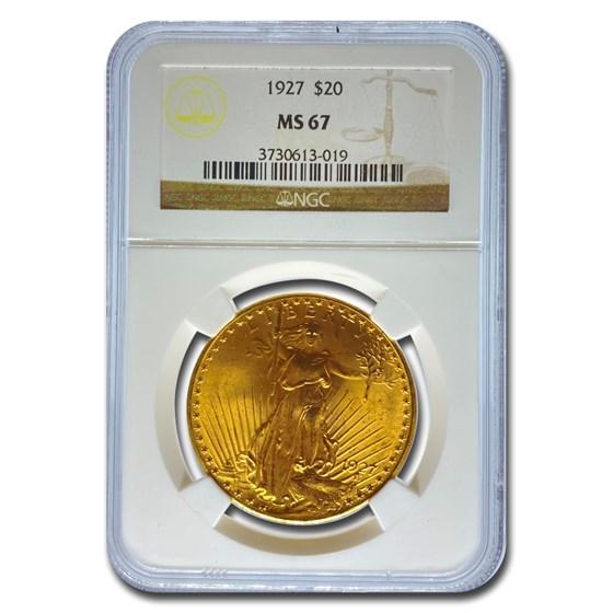 1927 $20 Saint-Gaudens Gold Double Eagle MS-67 NGC