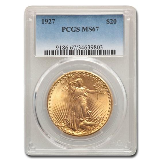 1927 $20 Saint-Gaudens Gold Double Eagle MS-67 PCGS