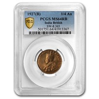1927 (B) British India Copper 1/4 Anna MS-64 PCGS (Red/Brown)