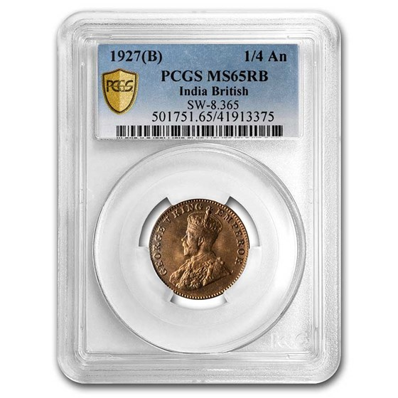 1927 (B) British India Copper 1/4 Anna MS-65 PCGS (Red/Brown)