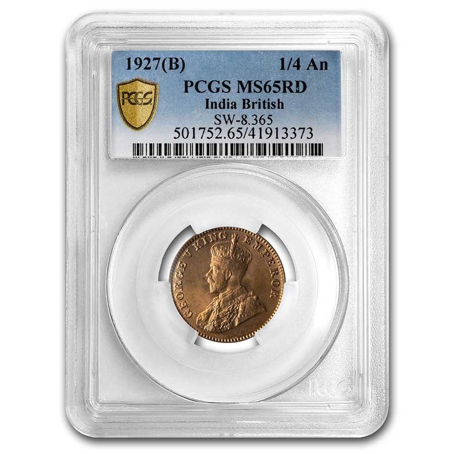 1927 (B) British India Copper 1/4 Anna MS-65 PCGS (Red)