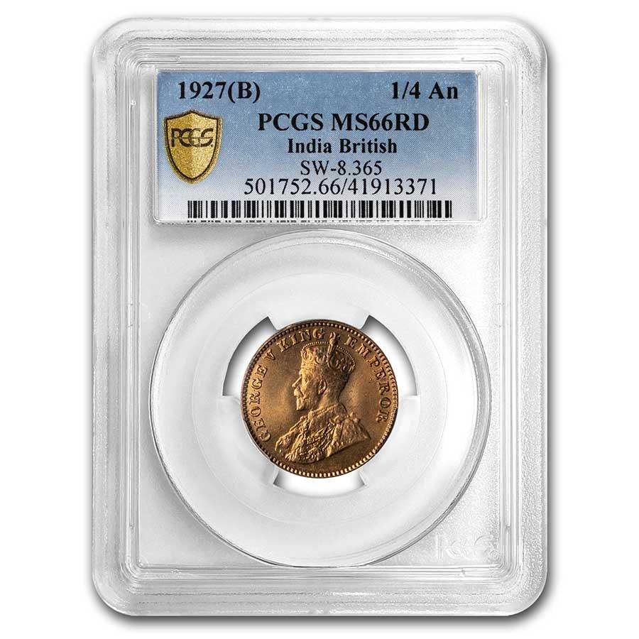 1927 (B) British India Copper 1/4 Anna MS-66 PCGS (Red)