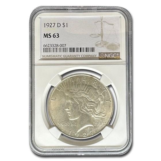 1927-D Peace Dollar MS-63 NGC