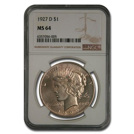 1927-D Peace Dollar MS-64 NGC