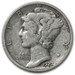 1927 Mercury Dime XF