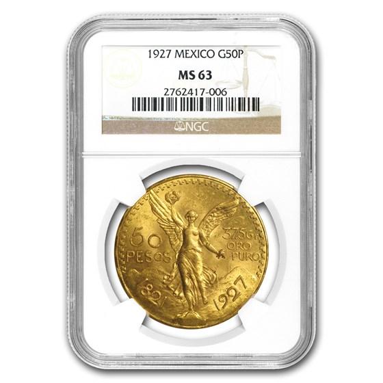 1927 Mexico Gold 50 Pesos MS-63 NGC